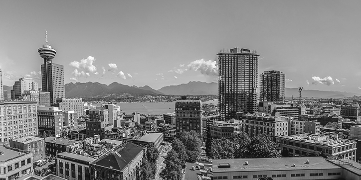 Panorama of the view from Vancouver Community College